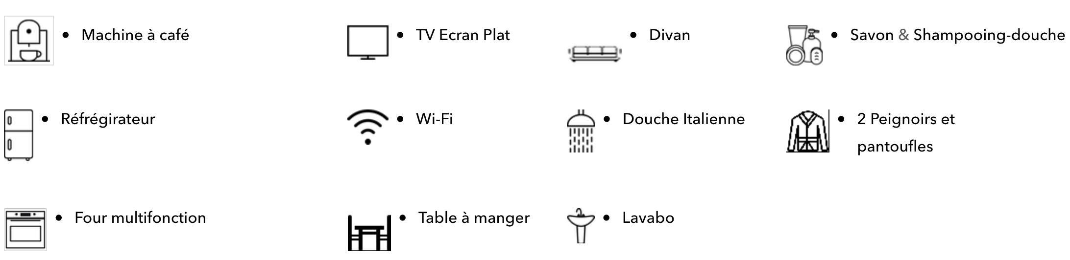 Les équipements de la chambre